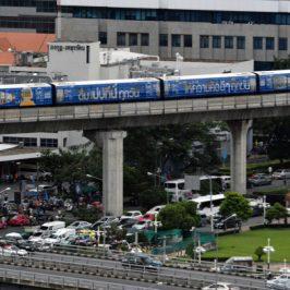 White-vented Mynas nesting in Bangkok's Skytrain pillars