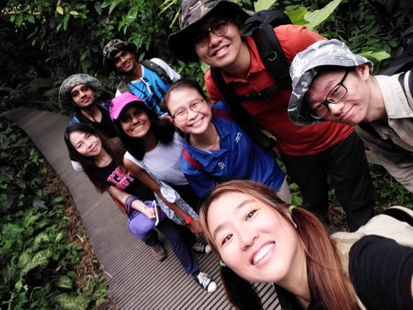 13 May 2017 - Folks full of glee and curiosity about nature out on a Love MacRitchie Walk. Author Teresa is at bottom of picture and student photo contributor Xu Cheng is on her left. In the group behind are Samuel and Pei En, Anusha, Elaine, Kripa and Muralikumar. (Photo credit: Teresa Teo Guttensohn)