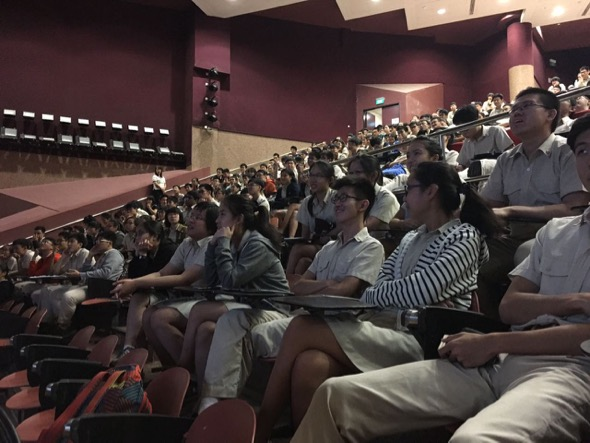 "19 Apr 2017 – Hwa Chong Institution student audience being captivated by Singapore's fascinating rainforest wildlife during screening of ""Unseen Undergrowth"". Photo by Nicole Han."
