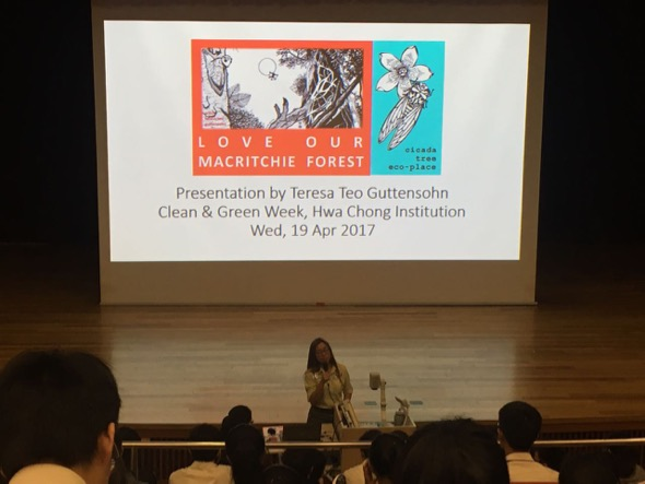 19 Apr 2017 – Ms Teresa Teo Guttensohn from Cicada Tree Eco-Place addressing close to 900 JC2 students in Hwa Chong Institution (College) on nature conservation.