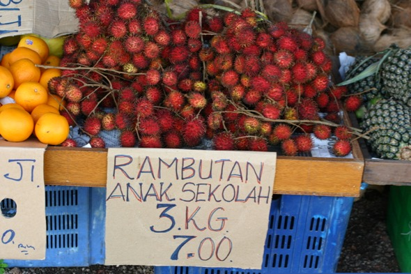 Roadside stall in Malaysia selling rambutan and other fruits (Photo credit: YC Wee)
